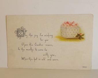 Antique Owen Easter postcard hatbox poem