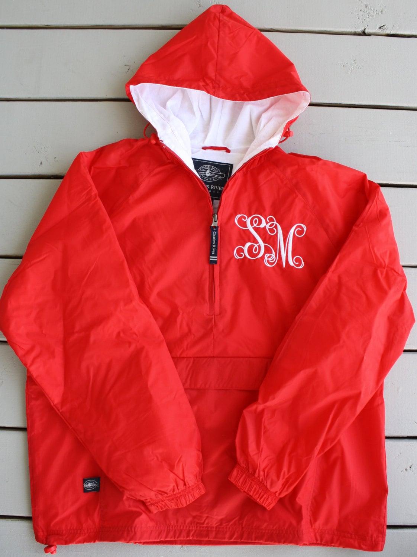 monogrammed half zip pullover rain jacket by gladevillefarmhouse