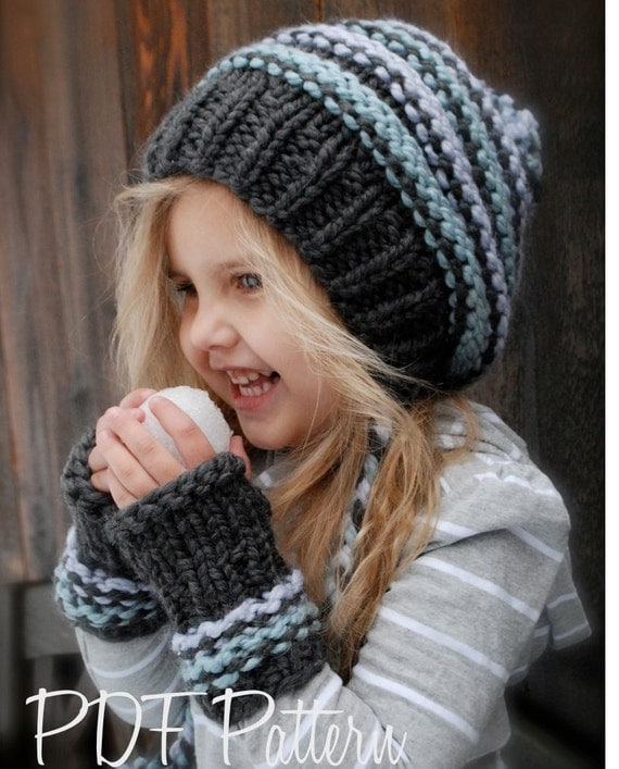 Knitting Patterns For Throws Easy : Knitting PATTERN-The Jersey Cap/Mitt Set Toddler Child