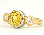 Sapphire Engagement Ring - Yellow Sapphire with Diamonds in Platinum and 18K Yellow Gold - 3 Carat Sapphire Oval - Custom Order