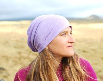 Women's  Hat - Slouchy - Beanie - Purple Lotus Organic Cotton Hemp - Eco Friendly - Organic Clothing