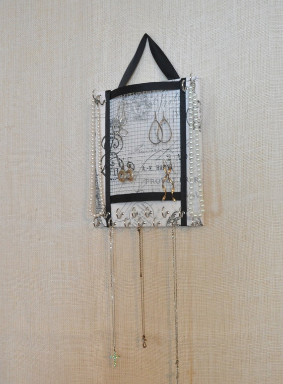 ULTIMATE JEWELRY ORGANIZER-Small- Paris France / French Inspired Print- 8x10 inches- 17 Large Hooks