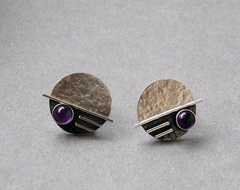 Sterling silver studs with amethyst. Silver studs. Stud earrings. Amethyst earrings. Silver jewellery. Handcrafted. MADE TO ORDER.