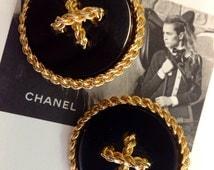 Vintage 80's Chanel Button Runway Earrings