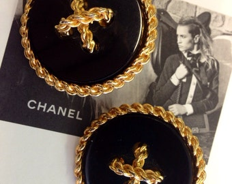 Vintage 80's Chanel Button Runway Earrings