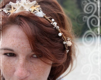Mermaid Head Wreath - Beach Bridal Crown - Seashell Wedding Halo - Beach Festival Costume - Flower Girl - Beach Bride - Starfish Accessories