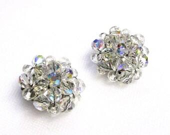 Vintage Crystal Wedding Earrings, Round Design Clip On, Crystal Cluster Earrings