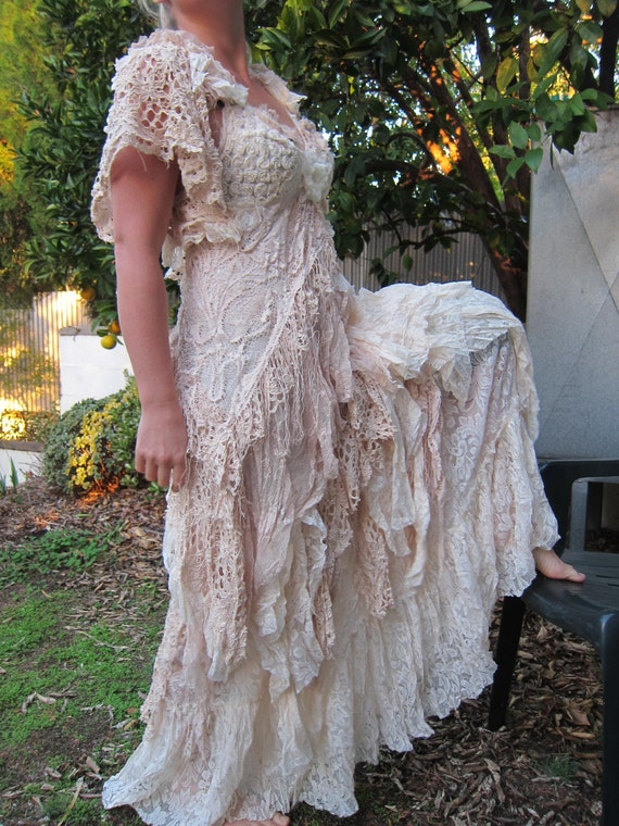Vintage Inspired Shabby Bohemian Gypsy Dress Small To