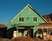 Last Chance, diner, gas station, blue, green, house, old, photograph
