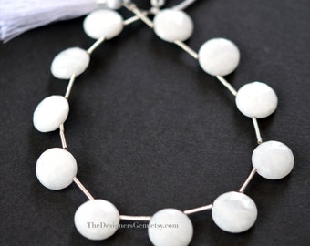 Natural White Quartz Top Drilled Faceted Round Coin Briolettes 13mm - 1/2 STRAND
