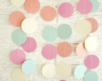 Wedding garland ... Party decor ...  paper circle garland ... party decor banner .... 12 feet ... coral peach mint ivory ... soft romantic