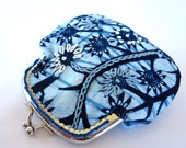 hand embroidered snap coin purse wallet clearance sale blue white African wax fabric modern tribal - gift idea - metal kiss lock frame purse