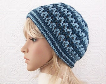 Crochet hat - womens blue beanie - handmade Winter Fashion Women's Accessories - gift for her - Sandy Coastal Designs - ready to ship