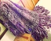 Afghan Blanket Knit with Purple, Cream and Chocolate Brown Fringe