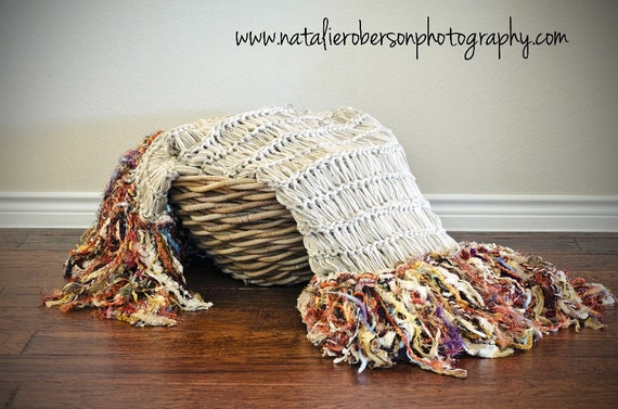 Gold Home Chair Throw Afghan Blanket. Hand Knit Fringe Home Decorating Accent in Gold Multicolored