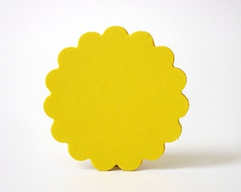 """25 - 2"""" Bright Yellow Scalloped Circle Punch Tags, Gift Tags, Cupcake Toppers, Scrapbooking, Embellishments - No663"""
