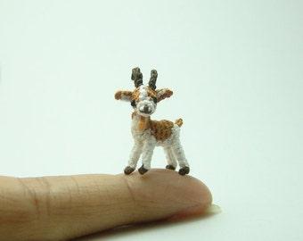 0.8 inch miniature brown and white goat - Tiny amigurumi crochet animal
