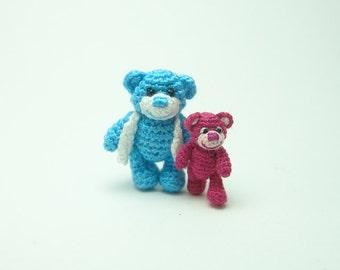 Father&Son Teddy Bear - 1inch and 0.8 inch crochet teddy bear - tiny micro amigurumi animals