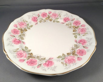 "Royal Adderley Devonshire Roses 8"" Salad Sandwich Plate - Bone China - England - roses - gold - pink - gilded"