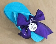 Round Size Tags - Flip Flop Size Tags, Wedding Favor Tags - Set of 12 (SMRT)