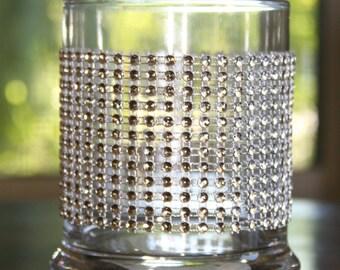 Rhinestone Blinged Glass Candle Holders or Vases - set of 6