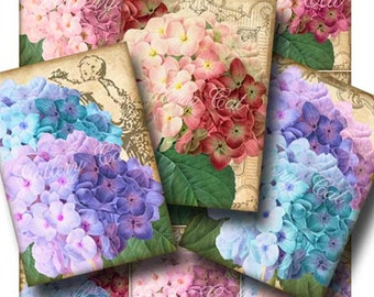 SUMMER SNOWBALLS Digital Collage Sheet Vintage Hydrangea Instant Download Scrapbooking Gift Tags Labels Cards Art Crafts GalleryCat CS220