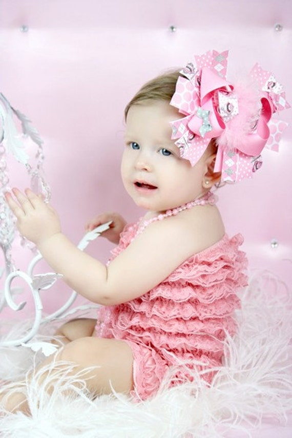 Pink, Silver, and White Girly Monkey Over the Top Boutique Hair Bow Headband