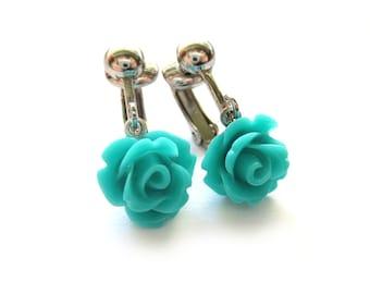 Teal Rose Clip On Earrings - Non Pierced