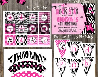ROCK STAR Birthday Party Package - Girl Printable