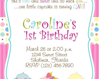 Cupcake 5x7 Printable Party Invitation Girl