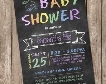 Pastel chalkboard baby shower invitation, chalkboard, pastel, printable invitation 20130118-K1-5A