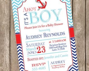 Chevron Ahoy it's a boy baby shower invitation, blue, red, navy, anchor, nautical, printable invitation
