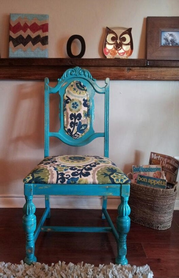 Items similar to sold turquoise chair accent chair dining chair desk chair set of - Turquoise upholstered dining chair ...
