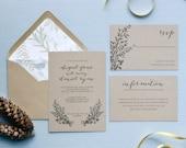 HLW Signature Collection Wedding Invitation Suite. Rustic Wedding. Wedding Invitations. Calligraphy Font. Wedding Programs. Wedding Menu.