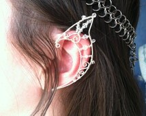 Wire Elf Ears in Sterling Silver Filled Wire and Swarovski Crystals