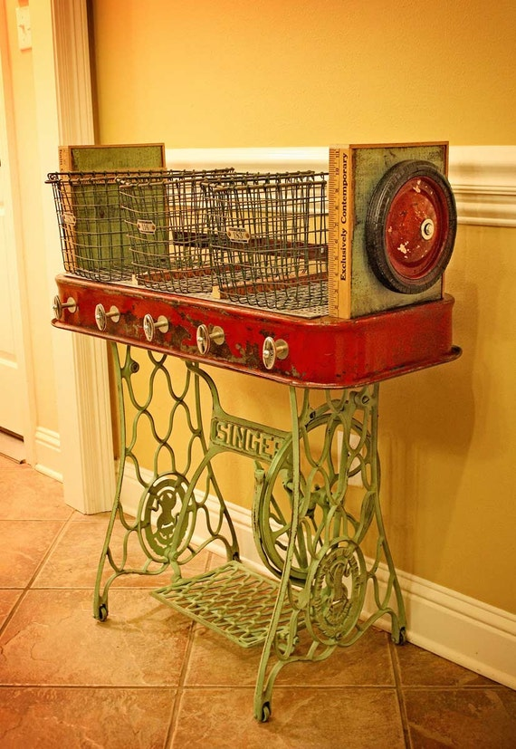 Repurposed Red Rider Wagon Sewing Machine Iron Base Wire Gym