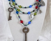 Vintage Skeleton Key and Tax Token MultiStrand Necklace, Statement Necklace, Multistrand Vintage Key Necklace, Found Object Necklace