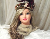 Royal Red Hat Couture, Amazing Plume Cap, Feathered vintage headpiece, OOAK creation by Marelle