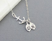 Sideways Silver Anchor Necklace - Sterling Silver Chain, His and Her Initials, Personalized Anchor
