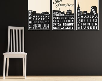 Skyline Poster. SAN FRANCISCO Art. Typography Print. Modern. Home Decor. Gift. Black and White. Retro Poster -  Set of 3 - 12x18
