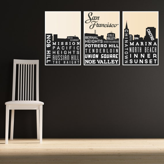 Skyline poster san francisco art typography print modern - Home decor san francisco image ...