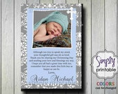 Thank You Card Baptism/Christening Damask
