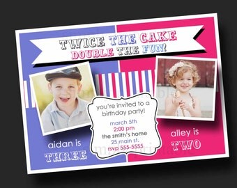 Double Party Girl/Boy Birthday Invitation