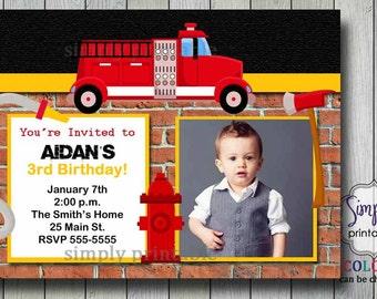Firetruck Birthday Invite
