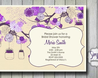 Purple Bridal Shower Invitation with Vintage Flowers & Mason Jars