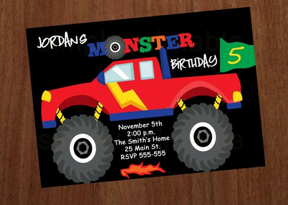 Monster Truck Boys Birthday Invitation