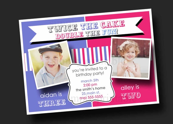 Double Party Girl/Boy Birthday Invitation