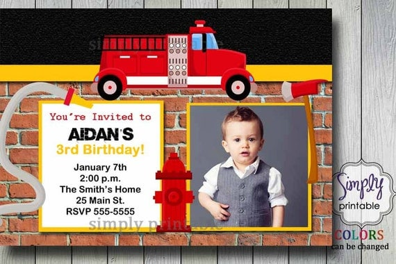 Firetruck Birthday Invite