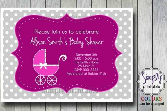 Stroller Baby Shower Invite