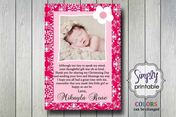 Thank You Card Christening